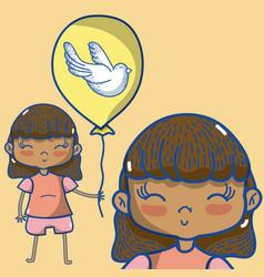 Cute girl with balloon vector