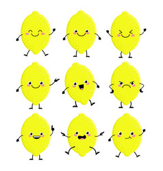 cute lemon characters set with different emition vector image