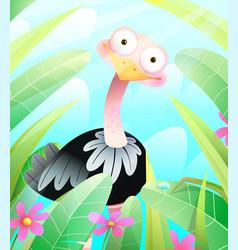 Cute ostrich in green nature cartoon for kids vector
