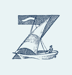 Decorative capital letter z marine ancient style vector