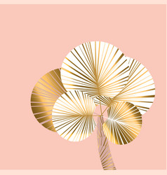 Decorative pastel rosy and gold color palm vector