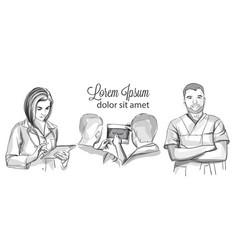 Doctors working set sketch storyboard vector