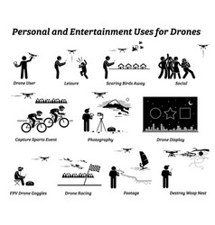 drone usage and applications for personal and vector image