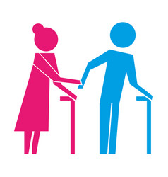 elderly couple walking with stick pictogram vector image