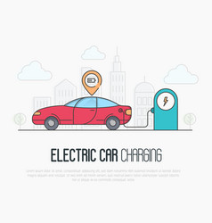 electric red car with charging battery pointer vector image