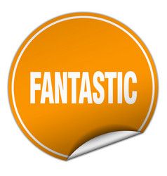 Fantastic round orange sticker isolated on white vector