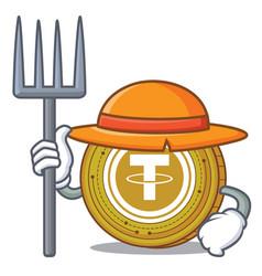 Farmer tether coin character cartoon vector