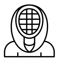 Fencing mask icon outline style vector