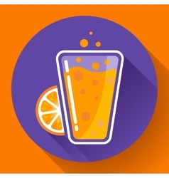 Flat ice tea drink icon Orange juice glass vector image