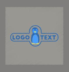 Flat shading style icon penguin logo vector