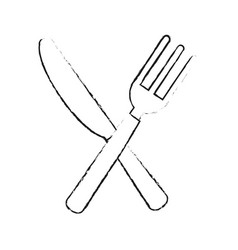 fork and knife cutlery icon image vector image