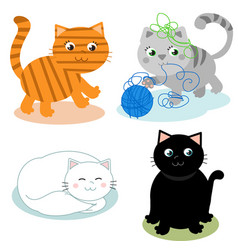 Four cute cartoon cats vector