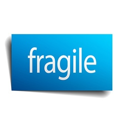 Fragile blue paper sign on white background vector