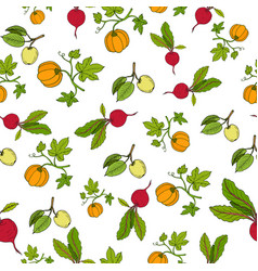 fresh vegetables and fruits seamless pattern vector image