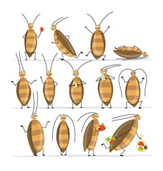 Funny cockroaches set for your design vector