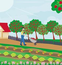 Gardener in the orchard vector