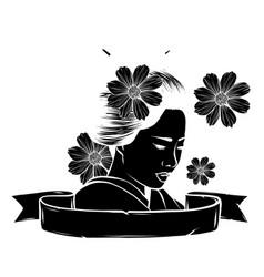 Geisha among blooming flowers vector