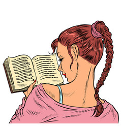 Girl student reading a book vector