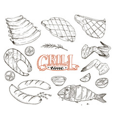 Grille meet and fish vector