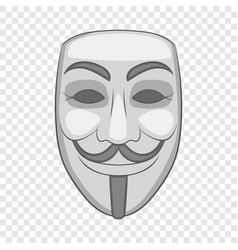 Hacker or anonymous mask icon cartoon style vector