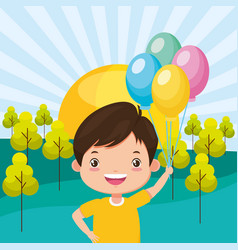 happy boy with balloons vector image