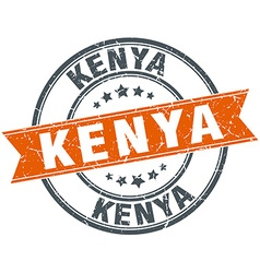 Kenya red round grunge vintage ribbon stamp vector