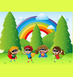 Kids playing hero in the park vector