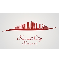 Kuwait City V2 skyline in red vector