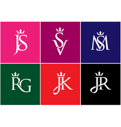 letter combination with crown logo vector image