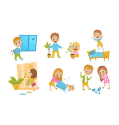 Little naughty kid characters doing tricks vector