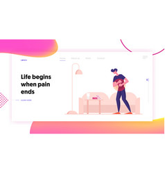 Man feel pain in stomach website landing page vector