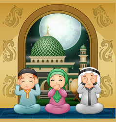 Muslim family pray and wishing at mosque vector