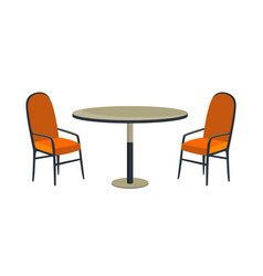 Patio area cafe and garden furniture table and vector