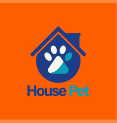 paw pet house logo template design vector image
