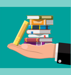 Pile books in hand vector