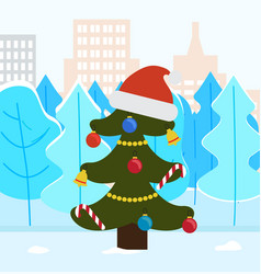 Pine tree for christmas spruce with santa hat vector