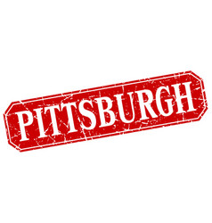 pittsburgh red square grunge retro style sign vector image