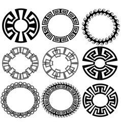 Round greek key meander border frame patterns vector