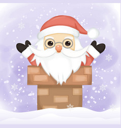 santa claus comes down chimney vector image