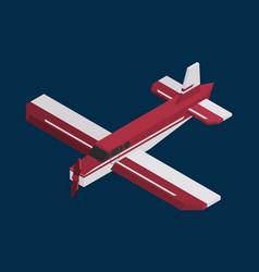 Screw single-engine burgundy color plane isometric vector