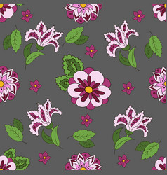seamless pattern with spring flowers cover vector image