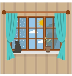 Seasons outside the room vector image
