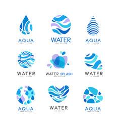 set blue aqua logos labels for water bottles vector image