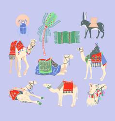 set egyptian camel palm tree carpet vector image
