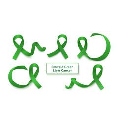 set emerald green curly ribbons and loops vector image
