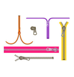 set fashion elements basic plastic zipper open vector image