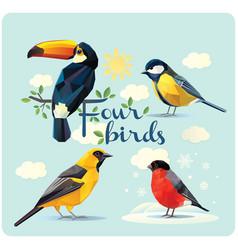 set four birds vector image