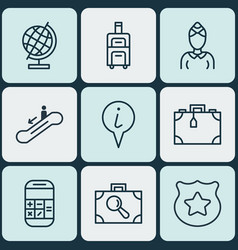 Set of 9 travel icons includes world sphere cop vector