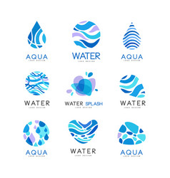 set of blue aqua logos labels for water bottles vector image