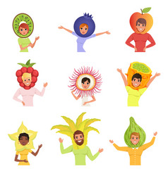 Set of happy people in various fruit hats kiwi vector